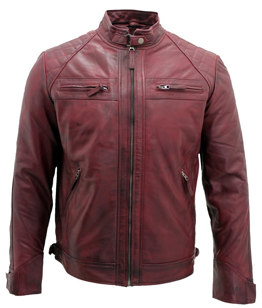 Men's Burgundy Retro Quilted Real Nappa Leather Biker Jacket L