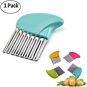 Crinkle Cutter Cutting Tool French Fry Slicer Potato Cutter Fruit Vegetable Wavy Chopper Knife Stainless Steel Random Color