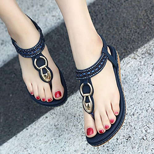 Btrada Women Thong Flip Flops Sandals Bohemian Style Summer Flat Shoes Blue 9KnqKs0