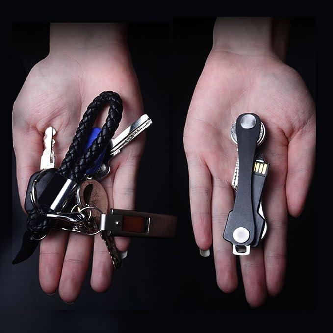 Extended rende pi/ù facile trovare immediatamente la chiave giusta pratico per 2-10 chiavi colore: Nero Portachiavi organizer compatto e intelligente JTDEAL design pieghevole