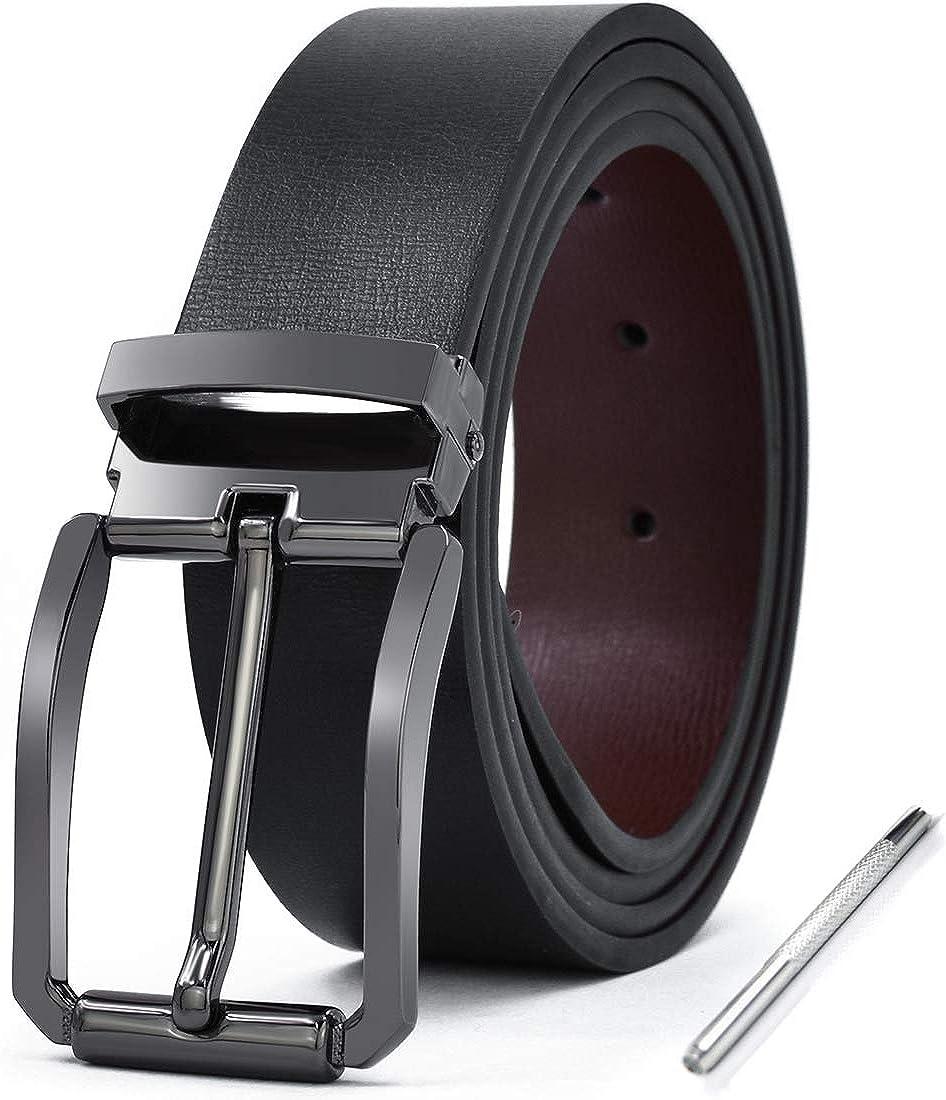 NEWHEY Cinturon Hombre Cuero Piel Hebillas Jeans Reversible ...