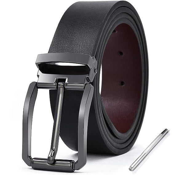 NEWHEY Cinturon Hombre Cuero Piel Hebillas Jeans Reversible Trabajo Traje Cinturones Clásico Negro Marron