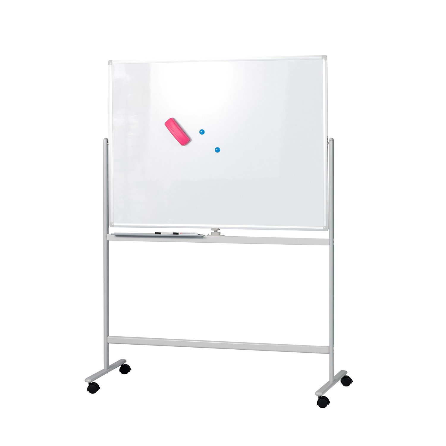 BuyHive Mobile Whiteboard 47'' x 35'' Double Sided Magnetic Dry Erase Board On Wheels Office Commercial Use Marker Board