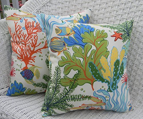 Set of 2 - Indoor / Outdoor 20 Square Decorative Throw / Toss Pillows - Splish Splash Tropical Fish / Coral Reef by Resort Spa Home Decor