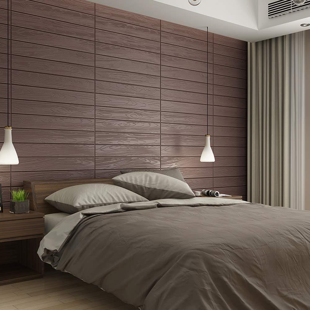 Waterproof Wood Wall Panels Self-Adhesive 3D Wall Paper Eco-Friendly XPE Foam Stick Tile Wall 23.6X27.6 inch 1, Coffee