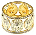 GWOOD Medusa 7 Pendants Iced Out Bangle Stretch Bracelet Gold Color
