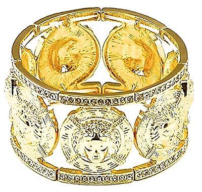 GWOOD Medusa 7 Pendants Iced Out Bangle Stretch Bracelet Gold Color