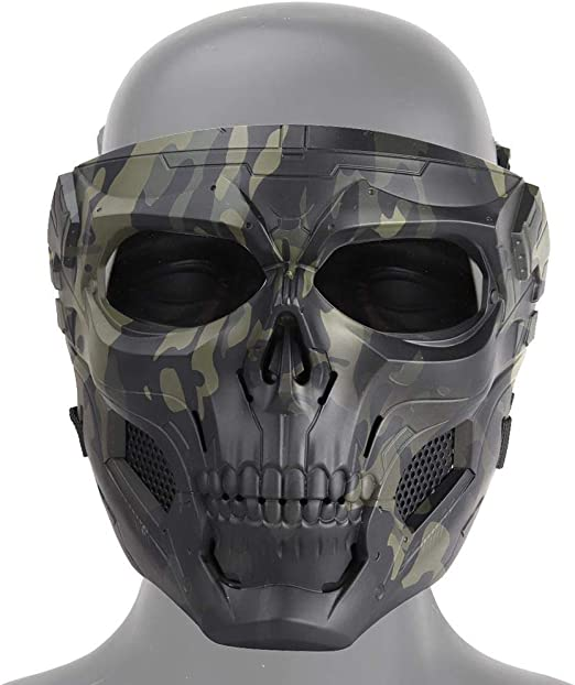 Amazon Com Tactical Skull Airsoft Mask Full Face Protective Mask Paintball Cs Hockey Halloween Masquerade Cosplay Eye Protection Skeleton Mask For Outdoor Activity Party Movie Props Camouflage Black Home Kitchen