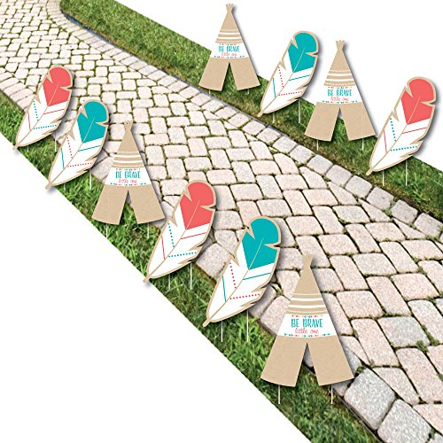 Be Brave Little One - Teepee and Feather Lawn Decorations - Outdoor Boho Tribal Baby Shower or Birthday Party Yard Decorations - 10 Piece