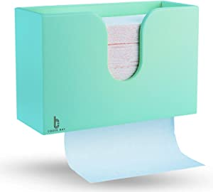 Bamboo Paper Towel Dispenser, Paper Towel Holder for Kitchen Bathroom Toilet of Home and Commercial, Wall Mount or Countertop for Multifold, C Fold, Z fold, Trifold Hand Towels (Light Blue Green)