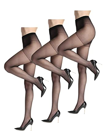 2cbaa6940 Comfortable and Durable Pantyhose for Women Sheer Tights 3 Pairs High  Elastic and Diy Cutting Stockings