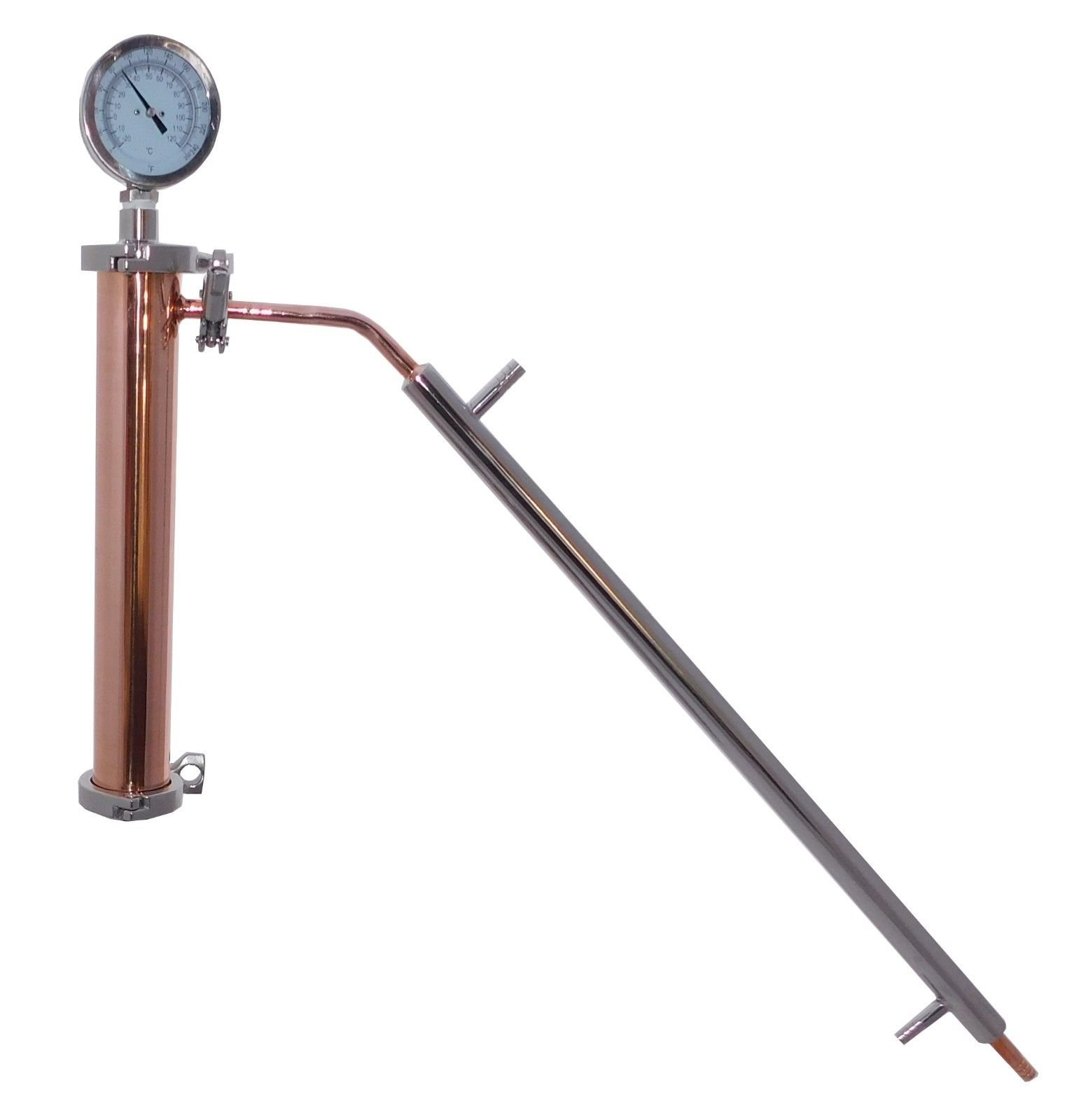 2'' Copper and Stainless Pot Still Column & Built in Condenser, Whiskey Column