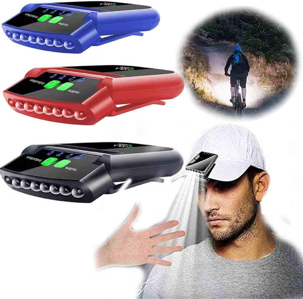 6 LED Headlamp USB Rechargeable Sensor Cap Hat Clip Lamp Headlight Torch Light