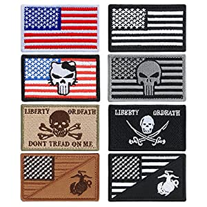 YUEAON 8pcs american flag velcro patches morale tactical embroidered military patch-usmc-marine corps-funny-ir-infidel-police