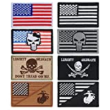 #6: YUEAON 8pcs american flag velcro patches morale tactical embroidered military patch-usmc-marine corps-funny-ir-infidel-police