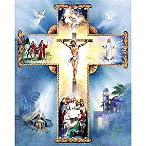 "FKUO Large 5D DIY Diamond Painting ""cross"" Religious belief Embroidery 2.8mm Round Diamond embroidery Fashion home decor (20 X 25 cm)"
