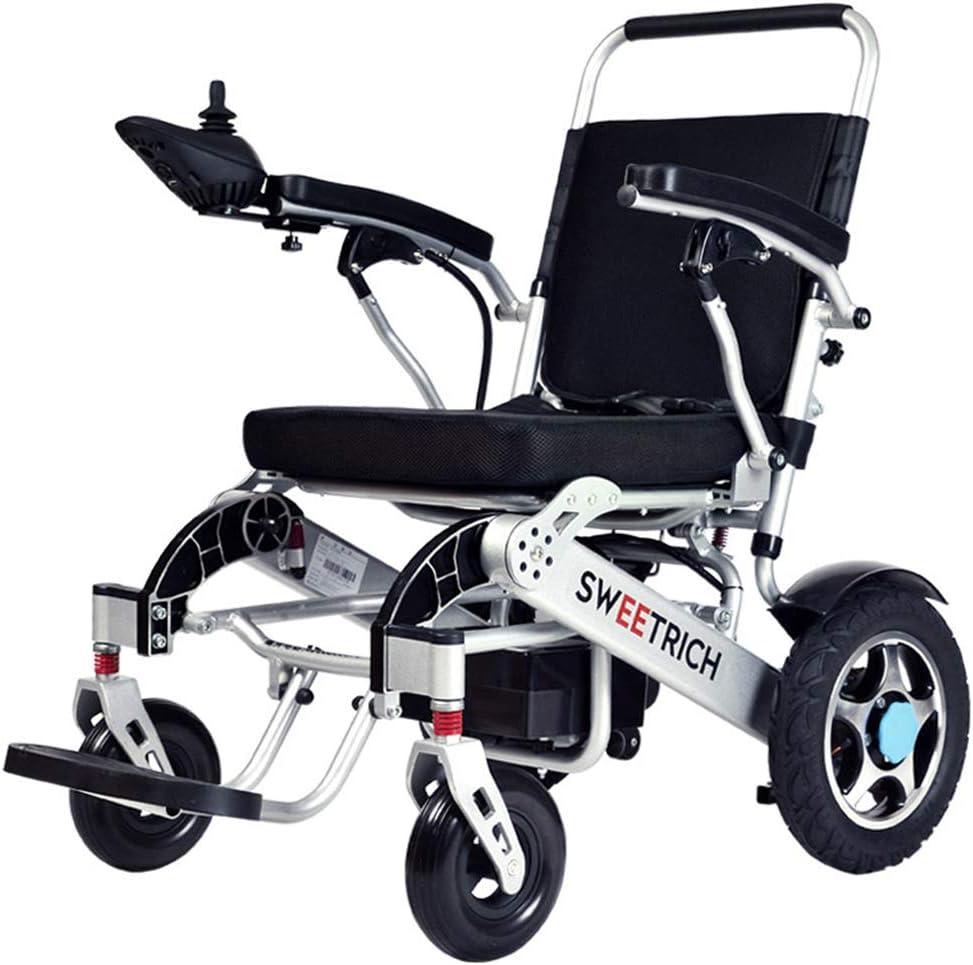 MIMINING Aviación De Alta Gama Aleación De Aluminio Silla De Ruedas Eléctrica Plegable Ancianos Discapacitados Bicicleta Ancianos Pequeño Scooter Portátil Ligero(Freno Electromagnético20A)