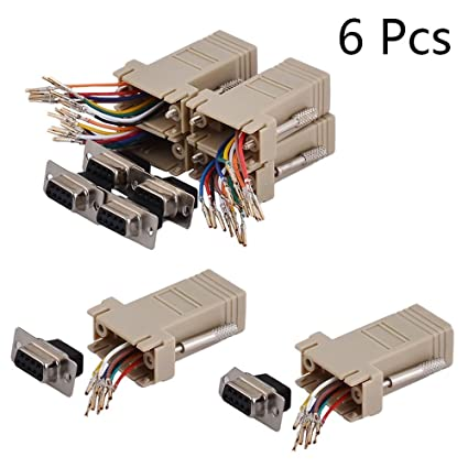 amazon com: yohii db9 female 9 pins to rj45 (8 wire) modular adapter  connector extender convertor 6pcs: computers & accessories