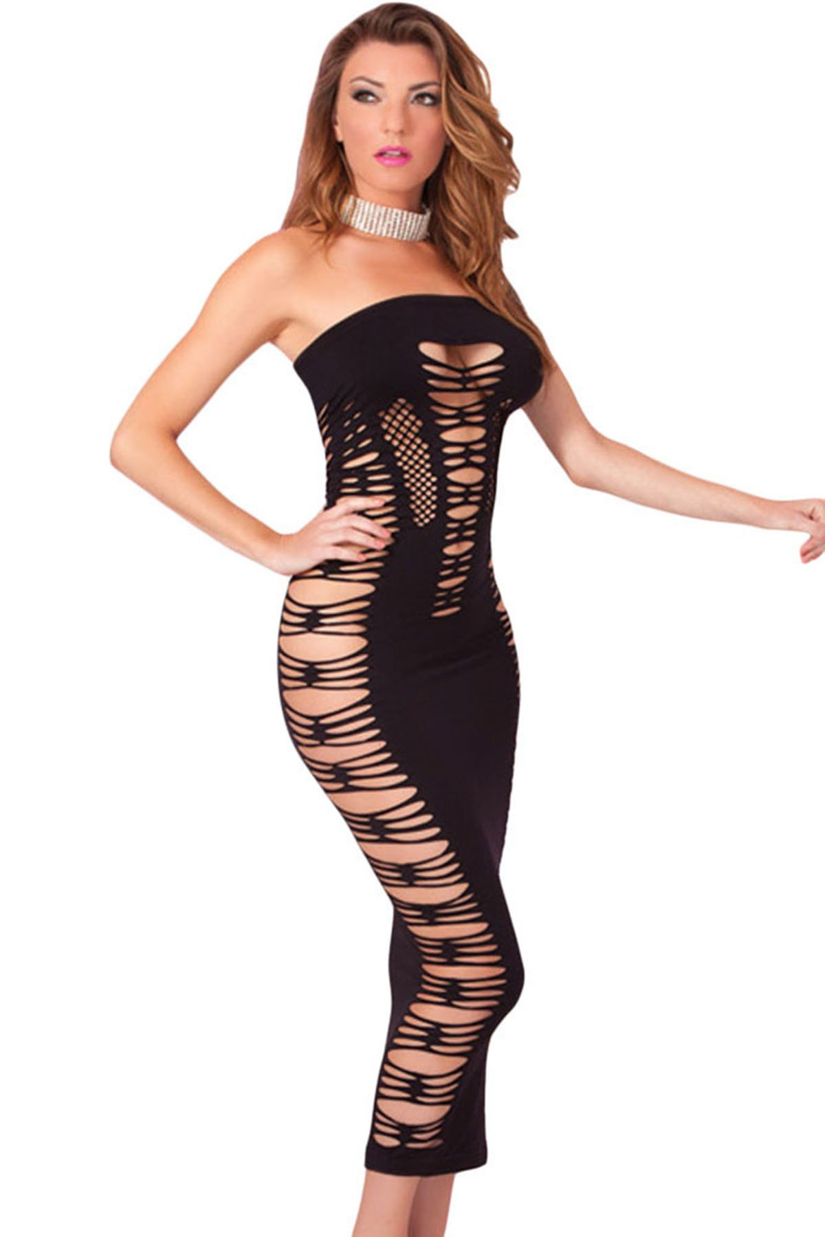 Topfly Big Spender Strapless Long Tube Dress Hollow Out Bandage Night Dress Black US XXS-L/Asian Free Size by Topfly® (Image #4)