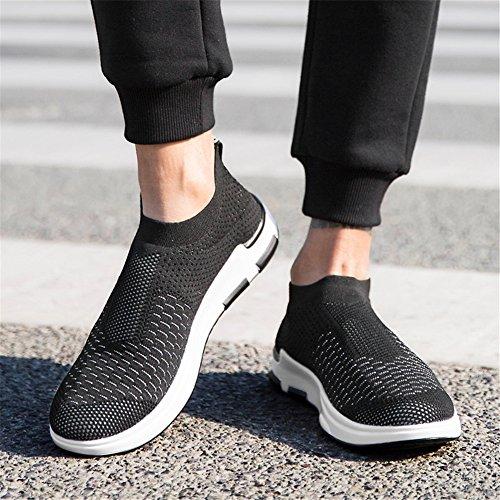 YALOX Männer leichte atmungsaktive Laufschuhe athletische Turnschuhe Mode lässig zu Fuß Slip auf Schuhe Schwarz-3