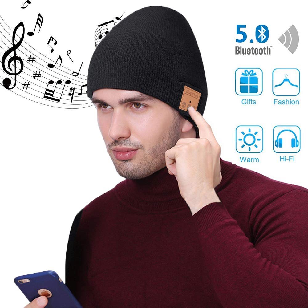Bluetooth Beanie,Women Mens Gifts,Bluetooth Hat,Women Men Beanie Hats with Bluetooth 5.0 Headphones for Outdoor Sports,Skiing,Running,Skating,Electronic Christmas Birthday Gifts for Men Women Teenager