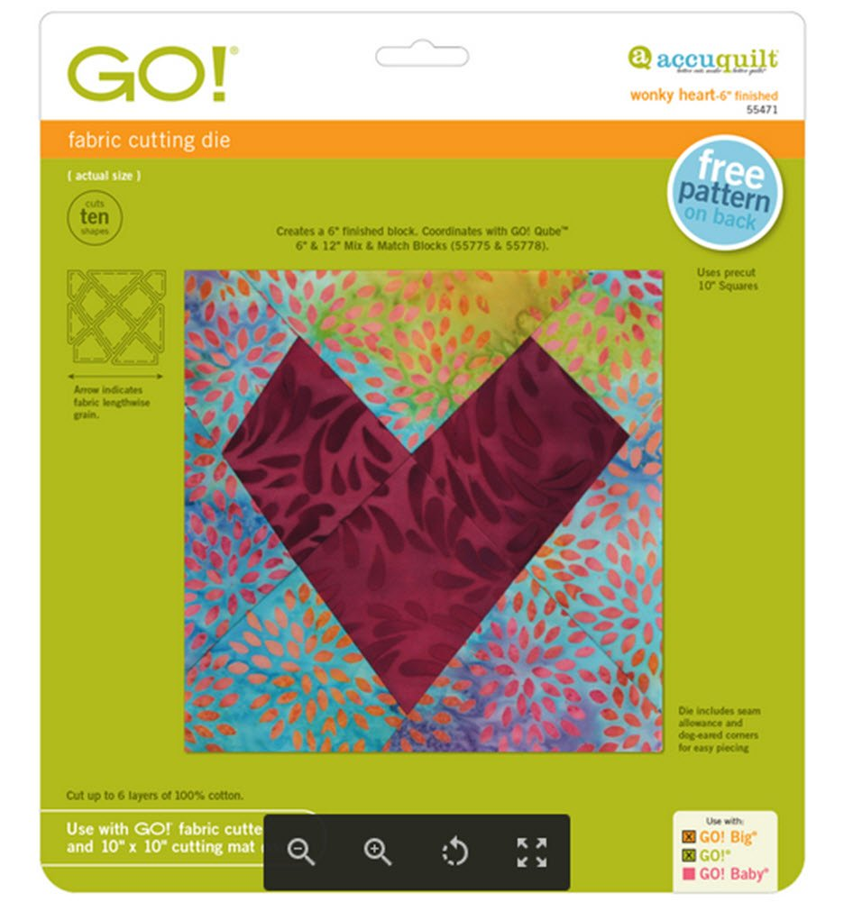 AccuQuilt GO! Fabric Cutting Dies Wonky Heart 6'' Finished, 55471