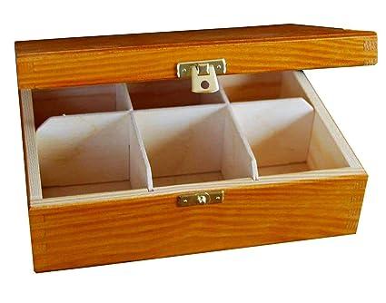 Aliso Caja para Té Bolsita Madera | 6 Compartimentos | 21,5 ...