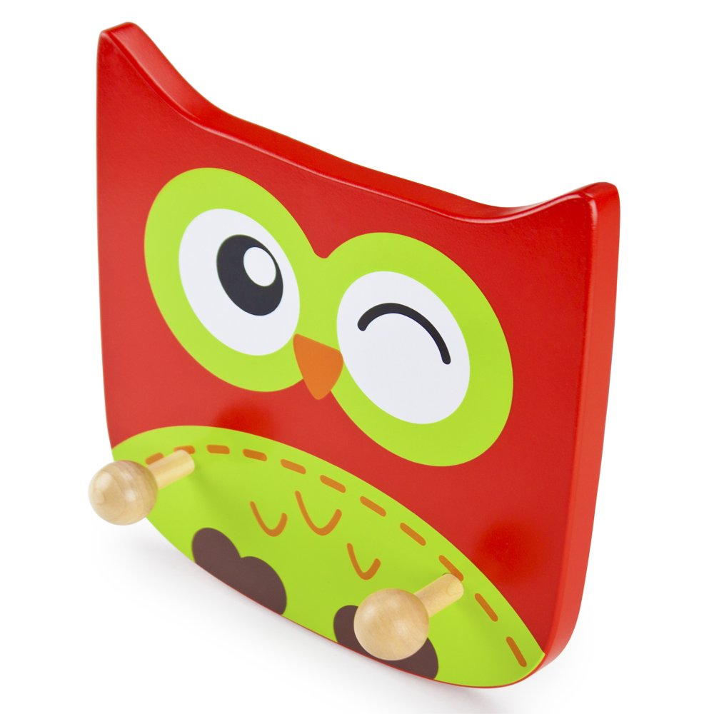 Zoo Animal Baby Room /& Nursery Decor Natural Wood Wall Mount Plaque for Childrens Clothes /& Coat Hanger Imagination Generation Wooden Owl Kids Clothing Rack
