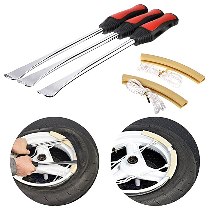 BTSKY Palancas para Cambio de Neumáticos 3Pcs Cucharas Herramienta de Reparación para Bicileta Motocicletas 30cm(3 Palancas y 2 Protectores de Llantas): ...