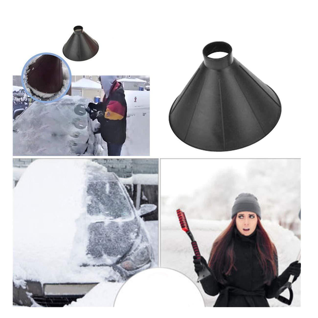 Challyhope Scrape A Round Magic Cone-Shaped Windshield Ice Scraper Snow Becomes A Funnel Car Accessories (Black)