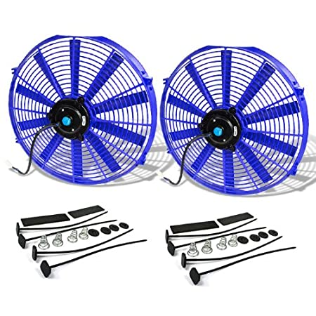 12 Inch High Performance Black Electric Radiator Cooling Fan Kit (Pack of 2) Auto Dynasty