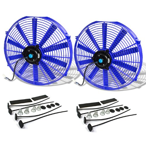 DNA Motoring RAF-16-BL+FMK-X2 2Pcs 16 Inch Electric Radiator Cooling Fan kit Blue