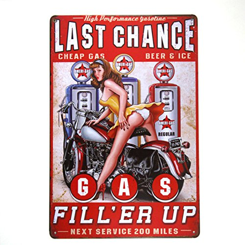 DL-Gas Metal Sign Vintage Garage Wall Art pin up Poster Coffee bar ()
