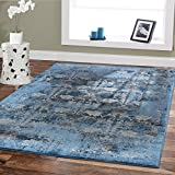 Premium Soft 8×11 Modern Rugs For Dining Room Blue Rugs Blue Beige Brown Ivory Navy Floral Carpet Rugs Fashion 8×10 Bedroom Rugs Liviong Room Rugs Contemporary Area Rugs 8×10 Clearance Under 100