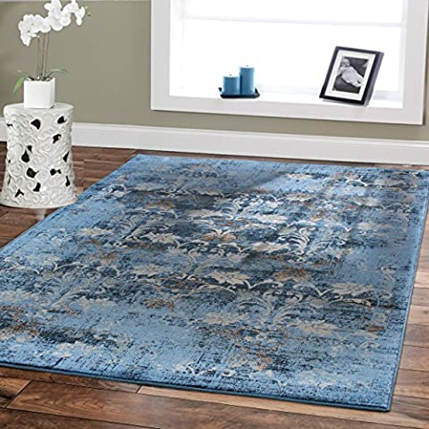 Premium Soft 8x11 Modern Rugs For Dining Room Blue Rugs Blue Beige Brown Ivory Navy Floral Carpet Rugs Fashion 8x10 Bedroom Rugs Liviong Room Rugs Contemporary Area Rugs 8x10 Clearance Under (8x11 Area Rug Blue)