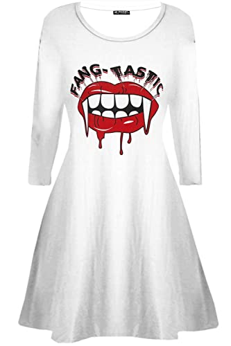 BE Jealous Donna Costume Halloween Fang-tastic SANGUINOSO VAMPIRO BOCCA Donna Swing MINI ABITO UK pi...