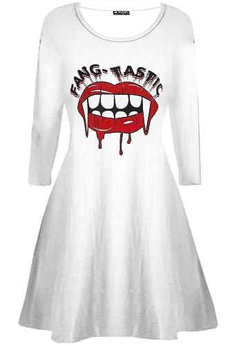 BE Jealous Donna Costume Halloween Fang-tastic SANGUINOSO VAMPIRO BOCCA Donna Swing MINI ABITO UK pi...
