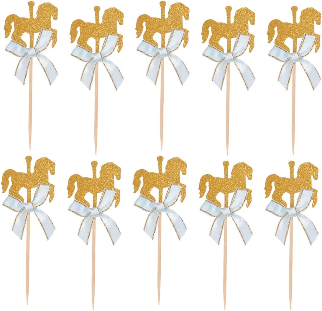 NUOBESTY - 20 Unidades de Adornos para Cupcakes con Forma de Caballo con Arco para Tartas, Palillos de Dientes, decoración para cumpleaños, Baby Shower para niños