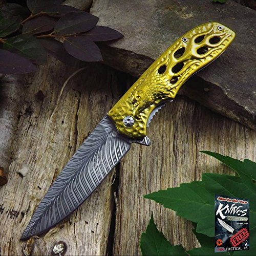 Eagle Feather Knife - Pocket Elite Spring Assisted Folding Knife Gold Flaming Eagle Feather Fantasy Tactical + free eBook by ProTactical'US