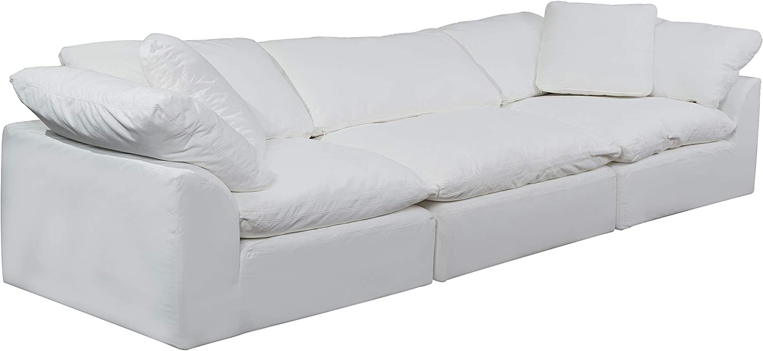 Sunset Trading Cloud Puff 3 Piece Modular Performance White Sectional Slipcovered Sofa,