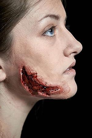 Meralens Latex Maske Korperteile Fasching Zombie Klaffende Wunde Und