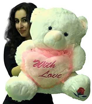 big plush valentine teddy bear 22 inches holds pink heart with embroidered message with