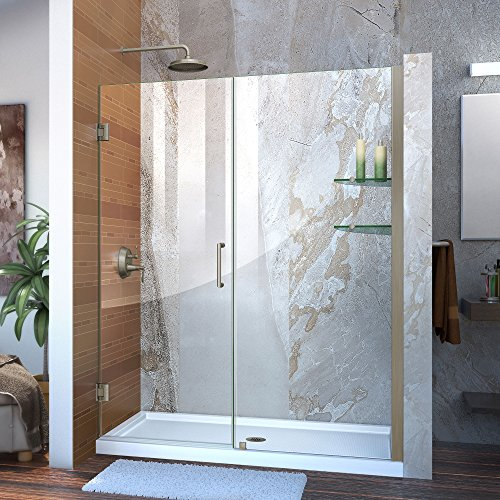 -61 in. W x 72 in. H Frameless Hinged Shower Door with Shelves in Brushed Nickel, SHDR-20607210S-04 ()