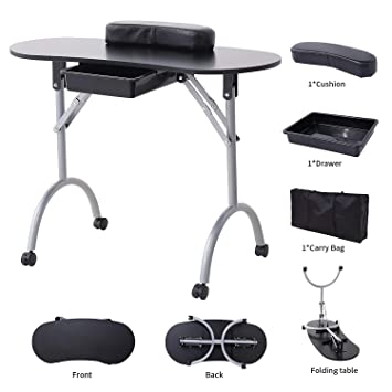 Amazon.com : SUNCOO Manicure Nail Table Station Portable Folding ...