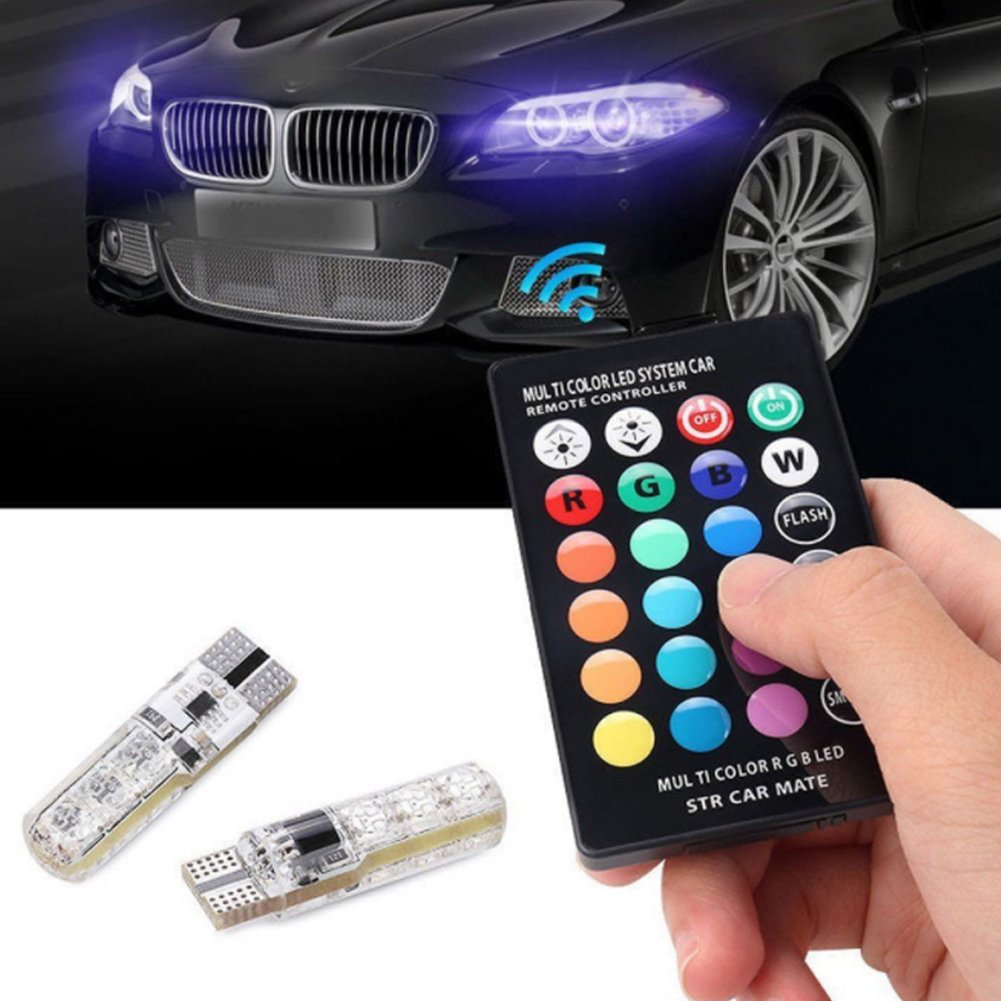 2pcs T10 RGBW Car Interior LED Light Bulbs, 16 Colors Super Bright 194 168 2825 W5W Wedge LED Replacement for Car Dome Map Door License Plate Lights Sidelight with 24 Key Wireless Remote GOGOLO 3GSJ06A9HFHN9I11R517D7