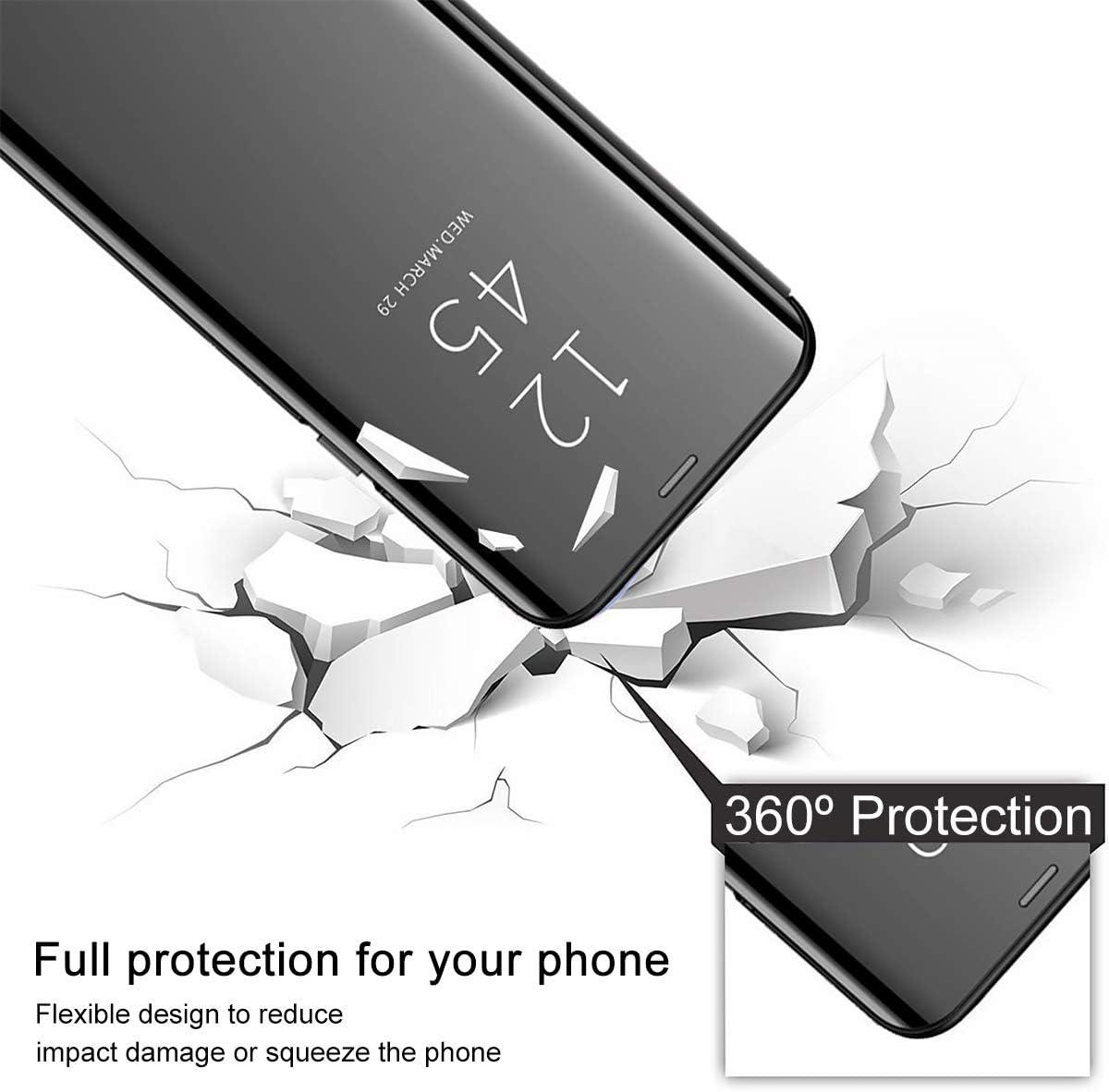 TOPOFU Funda LG K50S Carcasa Espejo Funda Libro para LG K50S Case Flip Smart Clear View Standing Cover Oro Rosa