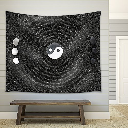 Zen Garden in Black Sand Fabric Wall