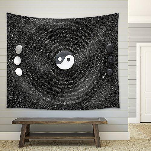 Zen Garden in Black Sand Fabric Wall Tapestry
