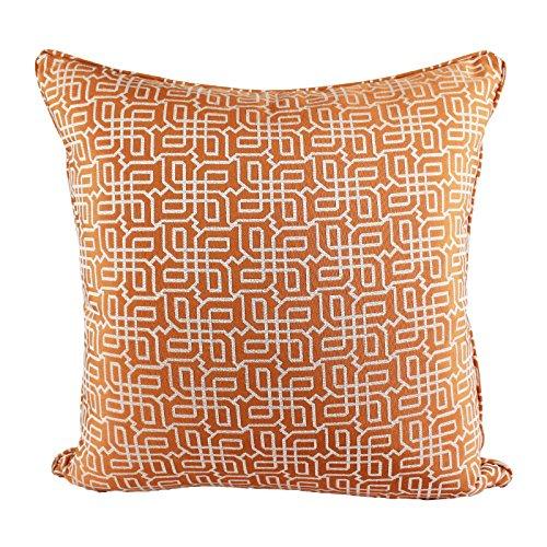 Homey Cozy Jacquard Plaid Throw Pillow Cover,Orange Textile Silver Geometric Pattern Decorative Square Couch Cushion Pillow Sham Case 20 x 20 Inch, Cover - Silver Orange