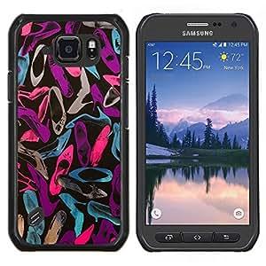 LECELL--Funda protectora / Cubierta / Piel For Samsung Galaxy S6Active Active G890A -- Patrón trullo Rosa Púrpura Zapatos --